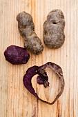 Purple potatoes with potato peel