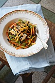 Carrot, bean and pear salad