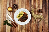 Venison goulash with mashed potato at Christmas