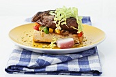 Ciabatta with beef steak and vegetables