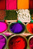 Spices and colourings at an Indian market