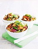 Noodle stir-fry with fish and vegetables
