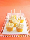 Tropical fruit ice lollies with coconut