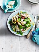 Chicken salad with apple and caramelised pecan nuts