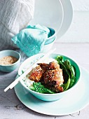 Crispy honey and soy chicken with sesame seeds