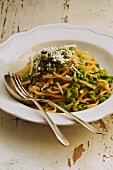 Ribbon pasta with peas and parmesan