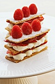Mille feuilles with strawberries and raspberries