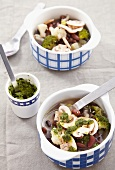 Minestrone soup with mushrooms, broccoli and red beans