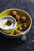Lentil falafel with lemon and yoghurt dip