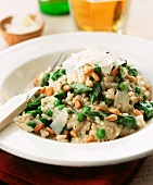 Asparagus risotto with peas, pine nuts and parmesan