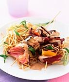 Satay skewers with vegetables