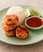 Fishcakes with chilli sauce and rice (Thailand)
