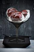 Chocolate muffins in a dessert glass