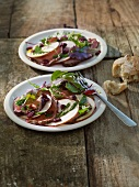 Roast beef salad with apple and cranberries