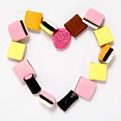 A heart shape made using liquorice sweets