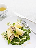 Cannelloni with chard and parsley sauce