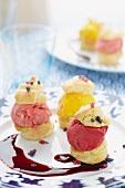 Profiteroles with fruit ice cream