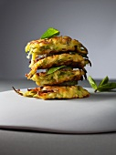 Courgette fritters with feta, stacked
