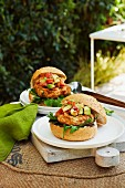 Barbecued Cajun turkey burger with avocado