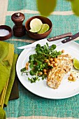 Barbecued fish with yoghurt marinade and a chickpea & herb salad
