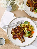 Barbecued spring chicken with sweetcorn salad