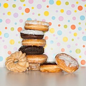 Heap of doughnuts with spotted background