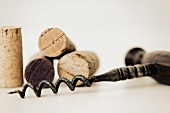 Wine cork on corkscrew
