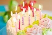 Illuminated candles on cake