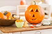 Halloween pumpkin on table