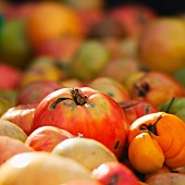 Close up of heirloom tomatoes on market stall