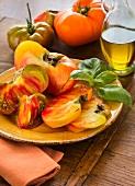 Heirloom tomatoes on plate