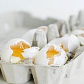 Close up of broken eggs in carton