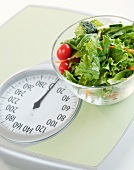 Bowl of salad on bathroom scale
