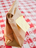 School lunch in brown paper bag