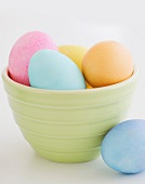 Dyed Easter eggs in bowl