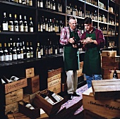 Father and son in liquor store