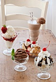 Selection of ice cream on table