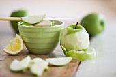 Fresh apples peeled for baking