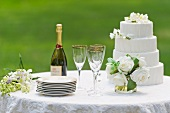 Table with champagne bottle and wedding cake