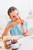 A girl having breakfast