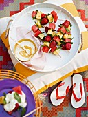 Fruit skewers for a picnic for Australia Day