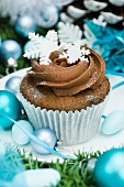 Christmas cupcake decorated with snow flakes