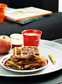 Waffles with apple and caramel