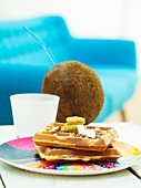 Waffles with bananas and coconut