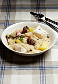 Sauerkraut with fish and seafood