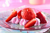 Strawberry sorbet with strawberry meringues and strawberries