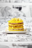 Mille-feuille with pitahaya and ginger