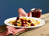 Kaiserschmarren (sweet cut up pancakes) with cherry compote