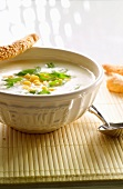 Jerusalem artichoke soup with corn