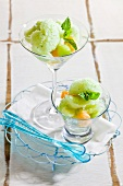 Vodka sorbet with melon and mint